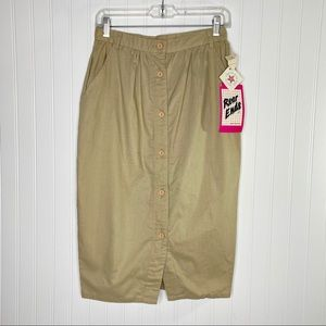 VTG Button Front Khaki Pencil Skirt Juniors 11/12